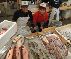 海鮮市場では私達ががんばって新鮮なお魚をおすすめしてます
